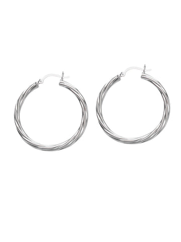 Classic Twist Hoop Earrings Rhodium on Sterling Silver 25mm Non-tarnish