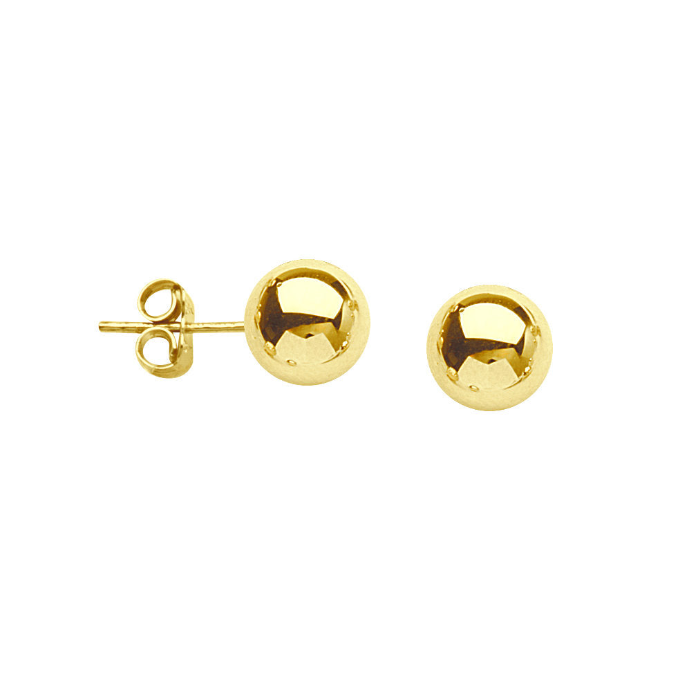 14k Yellow Gold Bead Ball Stud Earrings Polished Finish 8mm