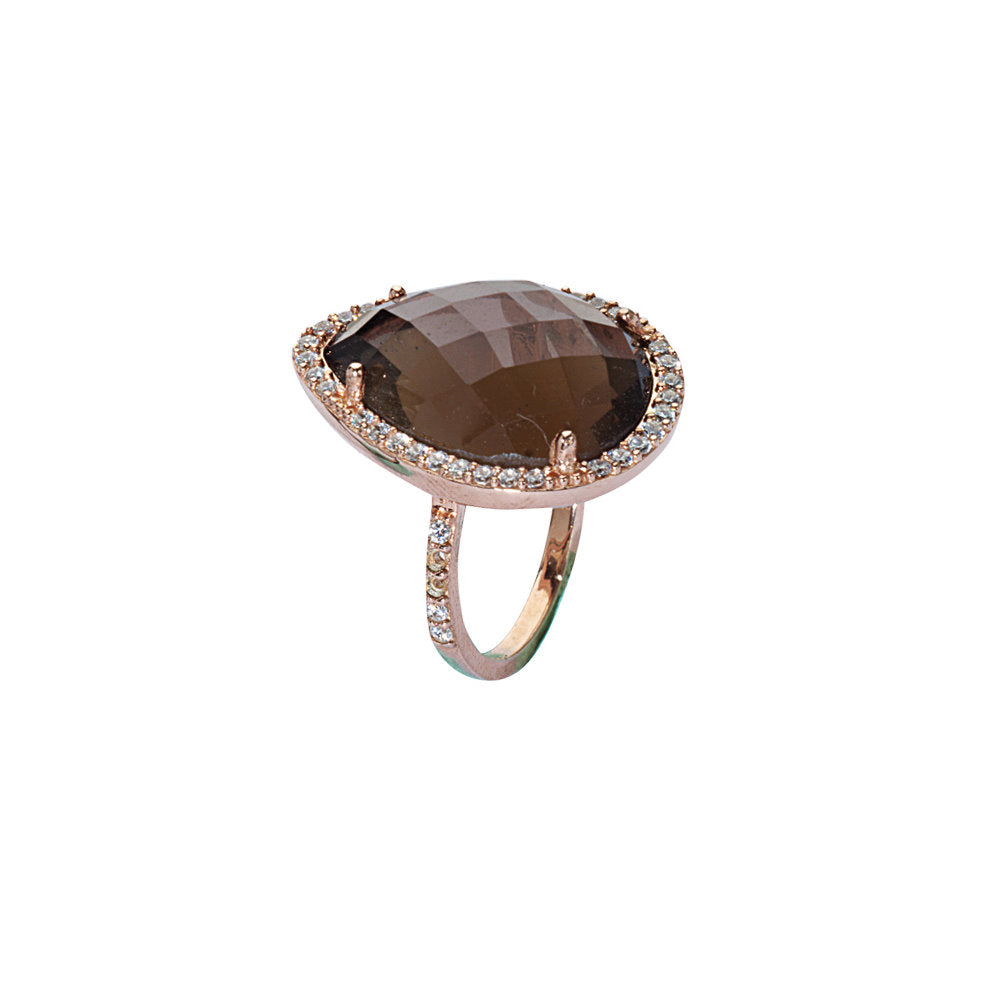 Smoky Quartz and Cubic Zirconia Ring 14k Rose Gold-plated Sterling Silver