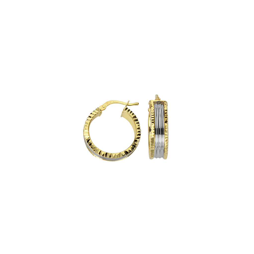 Hoop Earrings Two-tone Gold-plated on Sterling Silver