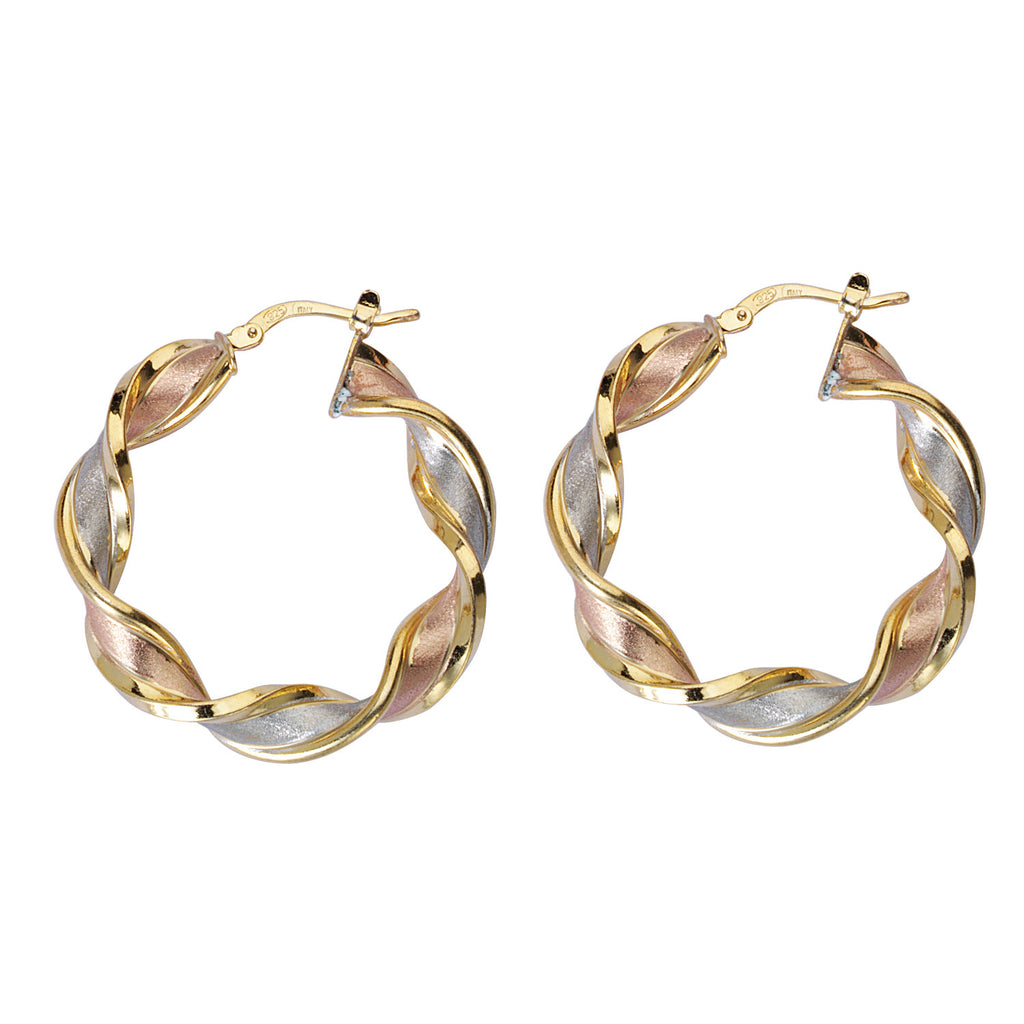 Twist Hoop Earrings Polished and Satin Finish Tri-tone Sterling Silver