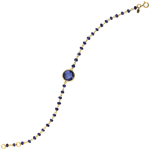 Amethyst Bracelet with Beads Yellow Plated Sterling Silver