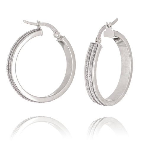 LightZ 14k White Gold Earrings Round Laser Cut Glitter Hoop Two Row 25mm