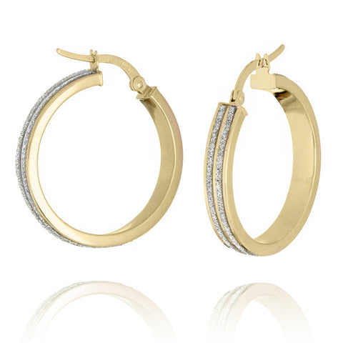 LightZ 14k Yellow Gold Earrings Round Laser Cut Glitter Hoop Two Row 25mm