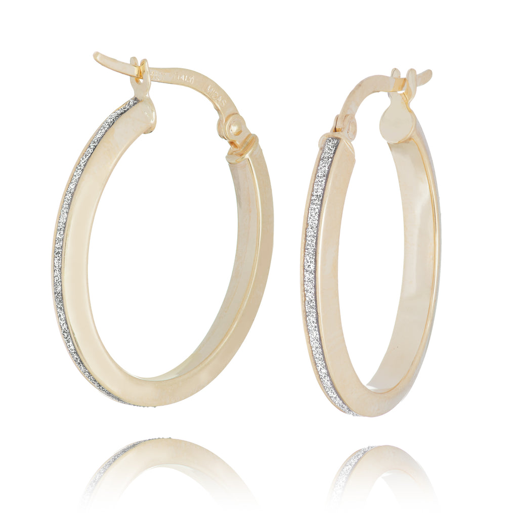 LightZ 14k Yellow Gold Laser Cut Glitter Oval Hoop Earrings 3x20mm