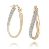 LightZ 10k Yellow Gold Laser Cut Glitter Twist Hoop Earrings 28x4mm