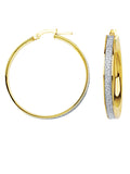 LightZ 10k Yellow Gold Laser Cut Glitter Round Hoop Earrings 30x4mm