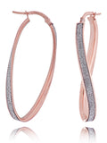 LightZ 14k Rose Gold Laser Cut Glitter Twist Large Hoop Earrings