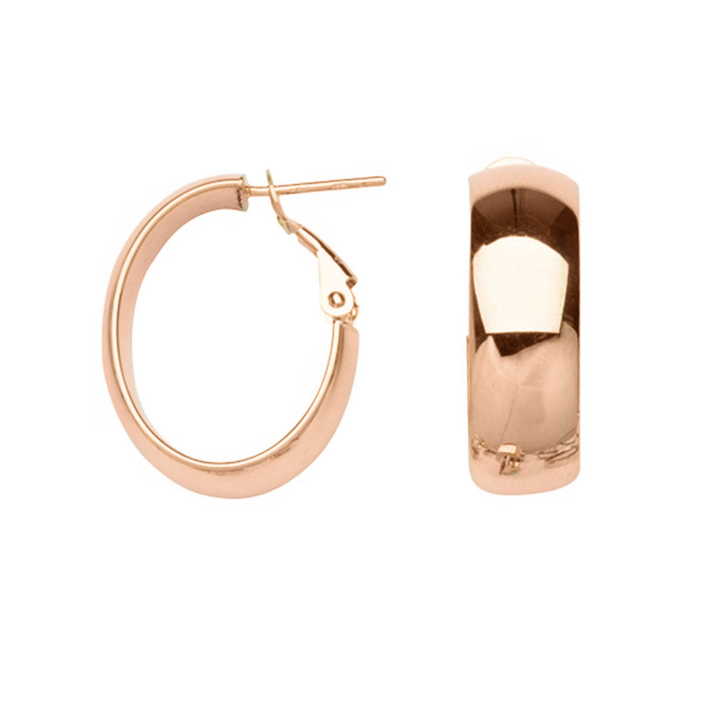 14k Rose Gold Oval Hoop Earrings Polished with Omega and Post 23x8mm