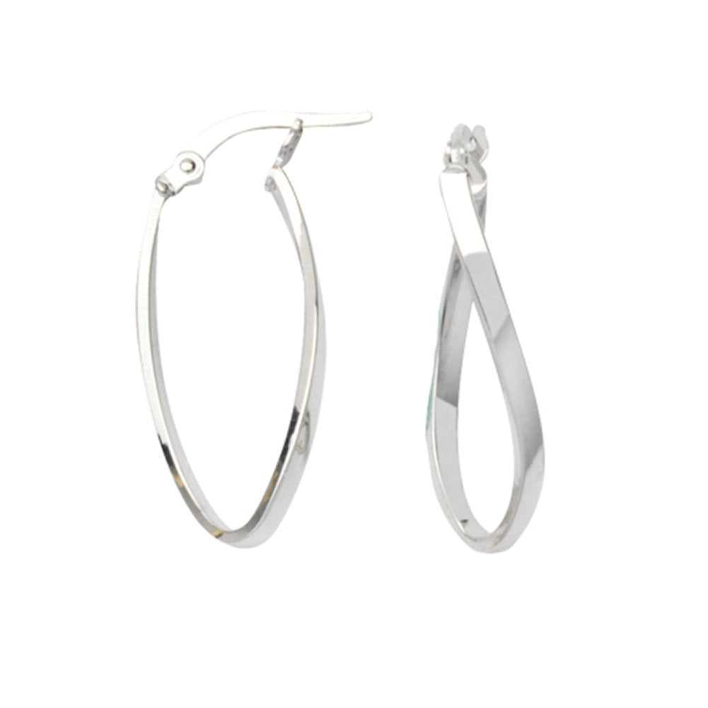 14k White Gold Figure Eight Oval Loop Hoop Earrings
