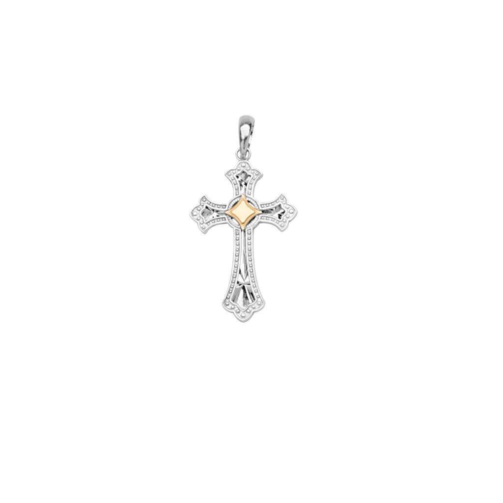 14k Yellow Gold and Sterling Silver Two-tone Cross Pendant with Fleur-de-lis