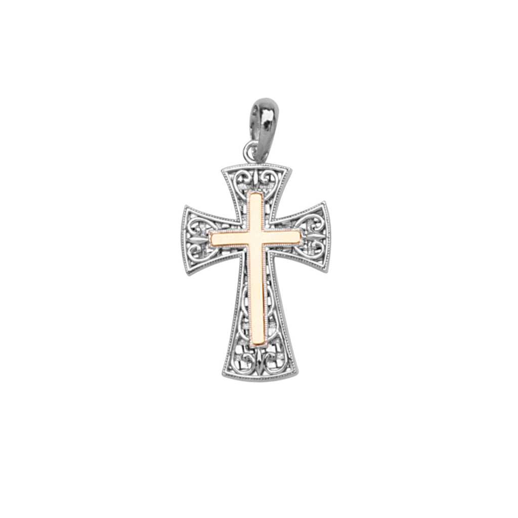 14k Yellow Gold Center Sterling Silver Two-tone Cross Pendant with Filgree Heart