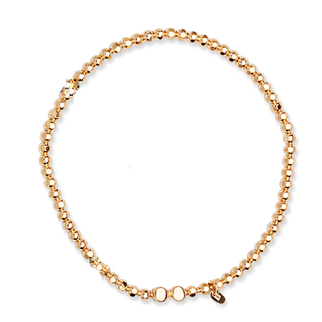 Caviar Collection Stretch Bead Bracelet Yellow Gold on Sterling Silver