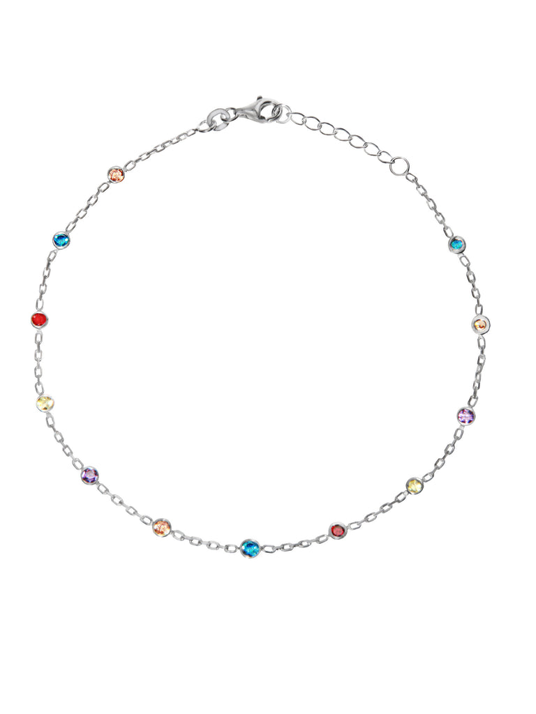 Sterling Silver Anklet Ankle Bracelet with Colored 3mm Cubic Zirconia Adjustable