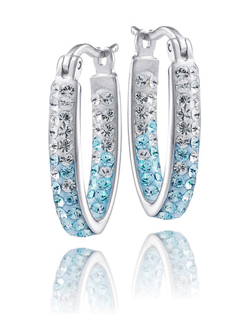 University of North Carolina Officially Licensed Spirit(TM) Collegiate Crystal Hoop Earrings