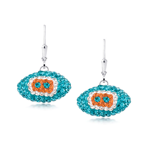 Miami Dolphins Earrings Licensed NFL Team Crystal Footballs