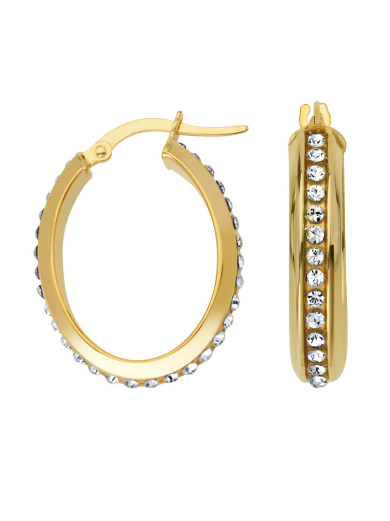 14k Yellow Gold Oval Hoop Earrings with Austrian Crystals - Ambience Collection