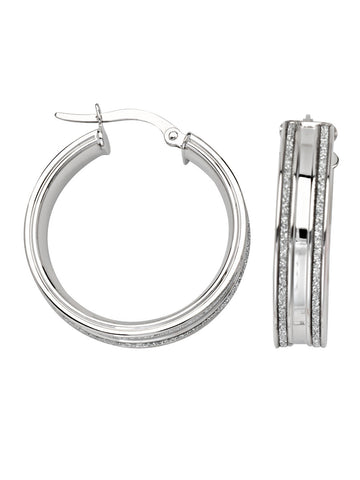 LightZ 14k White Gold Earrings Laser Cut Round Hoop 20mm