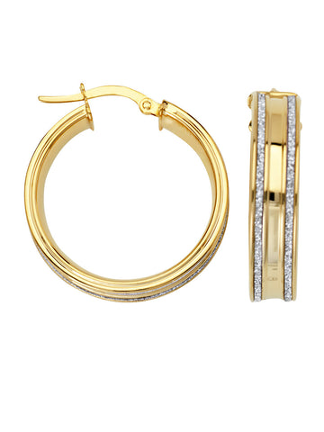 LightZ 14k Yellow Gold Earrings Laser Cut Round Hoop 20mm