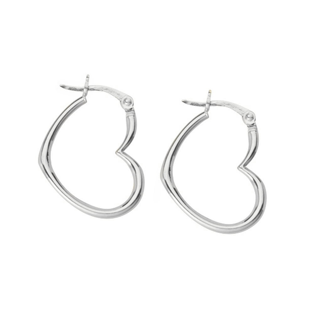 14k White Gold Open Sideways Heart Hoop Earrings