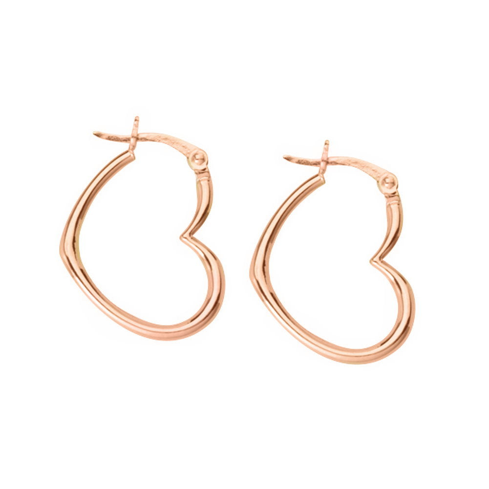 14k Rose Gold Open Sideways Heart Hoop Earrings