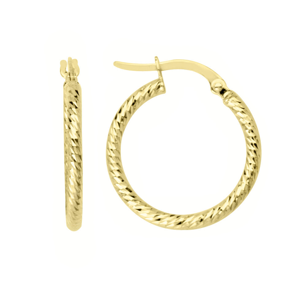 14k Yellow Gold Round Tube Hoop Earrings 15mm Diamond-cut Finish