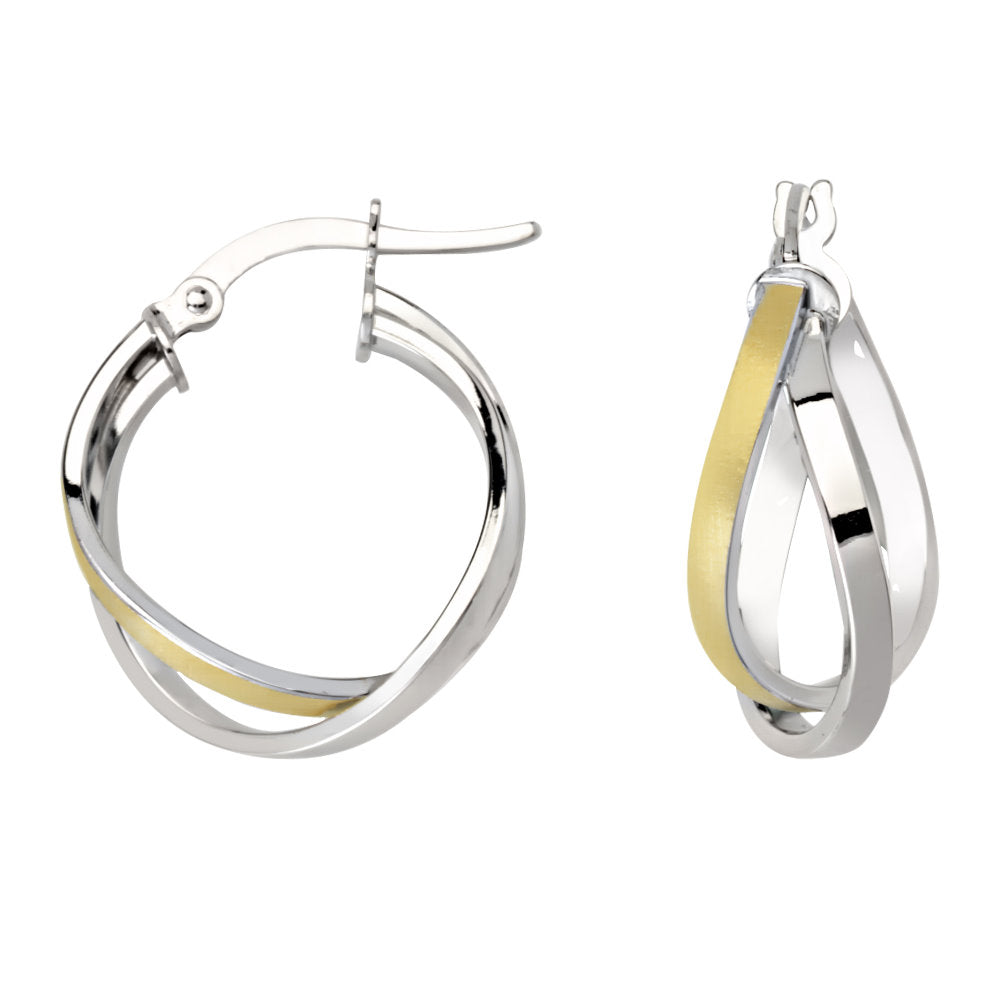 14k Two-tone Gold Intertwined Hoop Earrings with Smooth Poilshed Design