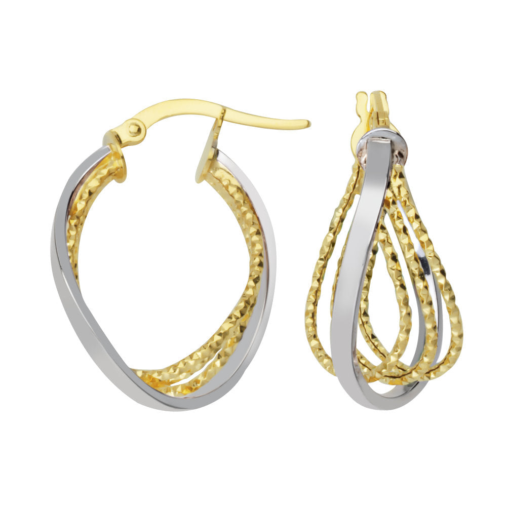 14k Two-tone Gold Intertwined Multi-loop Hoop Earrings Smooth and Rope Design