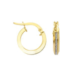 LightZ 10k Yellow Gold Laser Cut Glitter Round Hoop Earrings 15mm