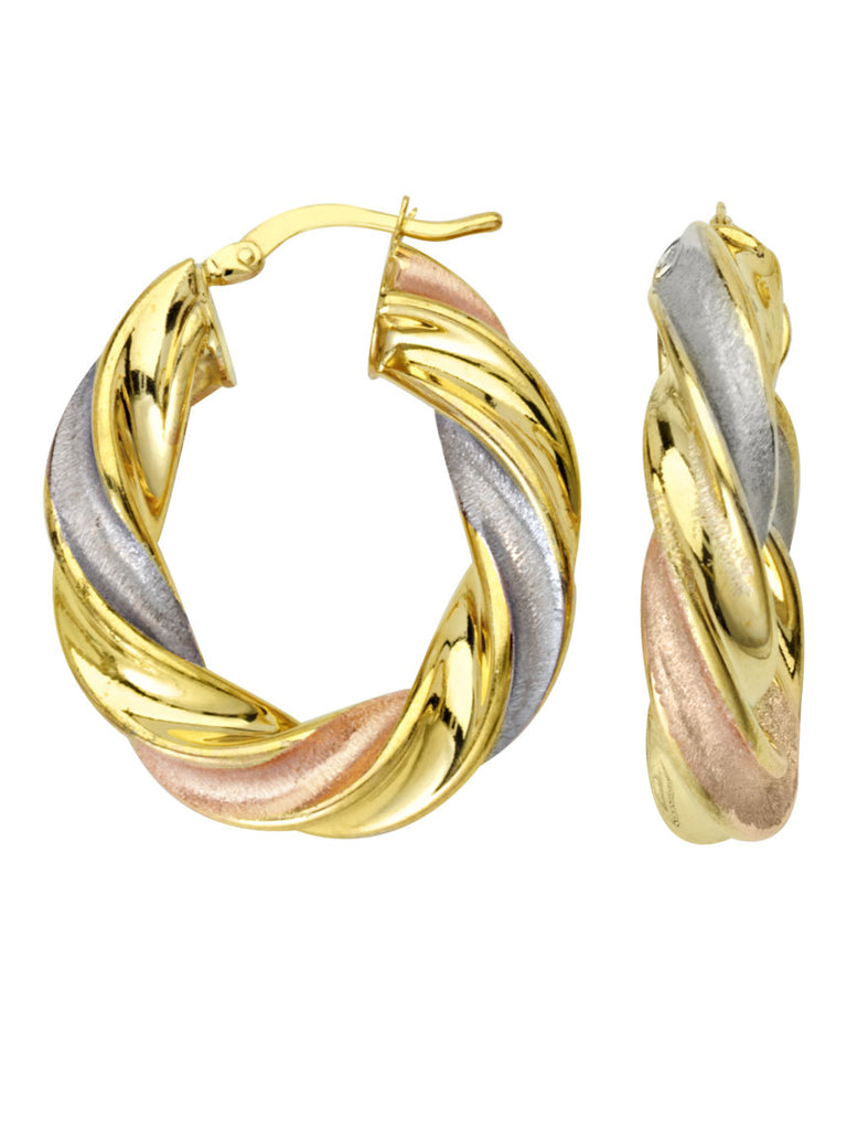 Hoop Earrings Tri-color Gold on Sterling Silver Twist Design 28mm