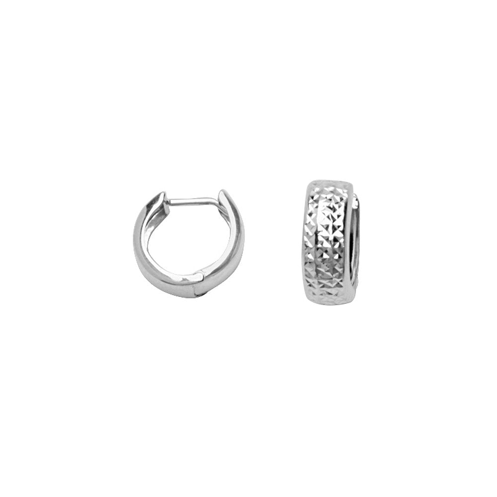 14k White Gold Diamond-cut Huggie Hoop Earrings 5x12mm