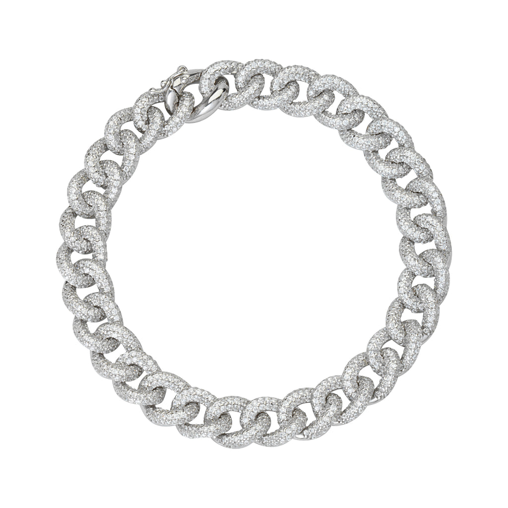 AzureBella Jewelry Rhodium-Plated Sterling Silver 10mm Wide Curb Chain Bracelet with Cubic Zirconia