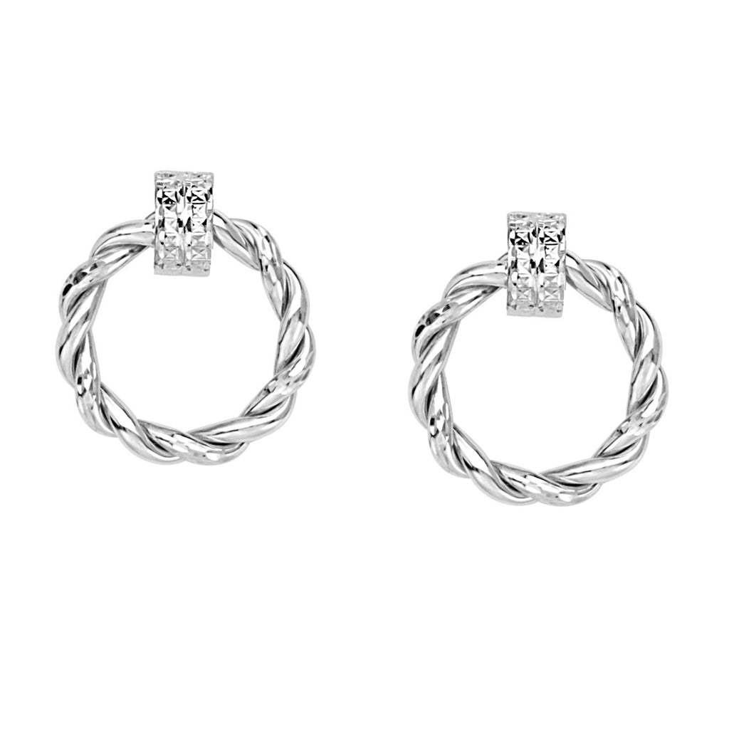14k White Gold Braided Round Doorknocker Hoop Post Earrings