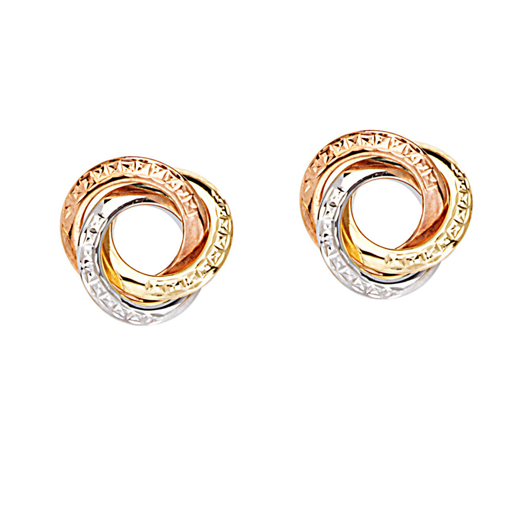 Three Tone 14k White, Rose and Yellow Gold Earrings Love Knot Textured