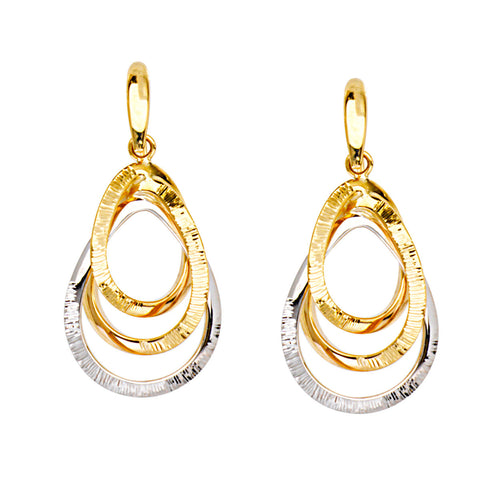 Two Tone 14k White and Yellow Gold Earrings Teardrop Shape 3D Style