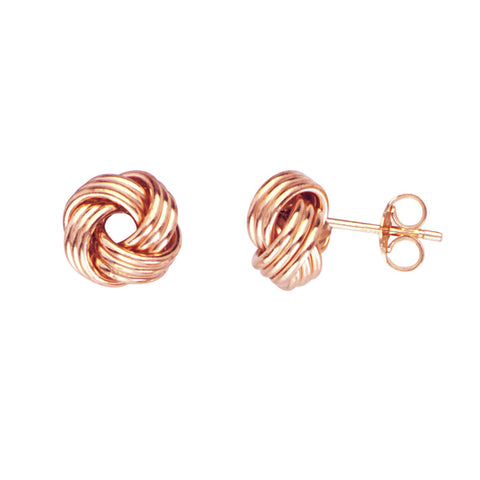 14k Rose Gold Love Knot Earrings 9mm Three Row Four Loop Knot