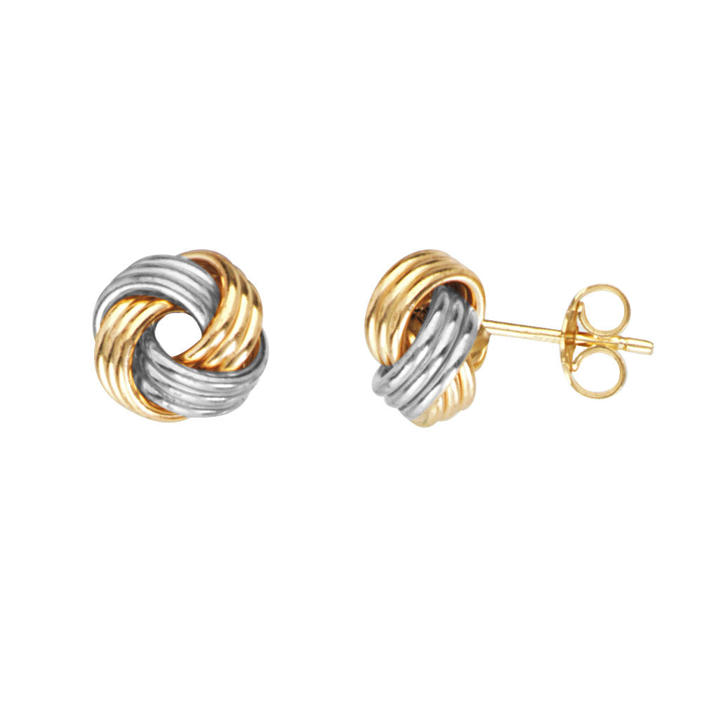 14k Two-tone White and Yellow Gold Love Knot Earrings 10mm