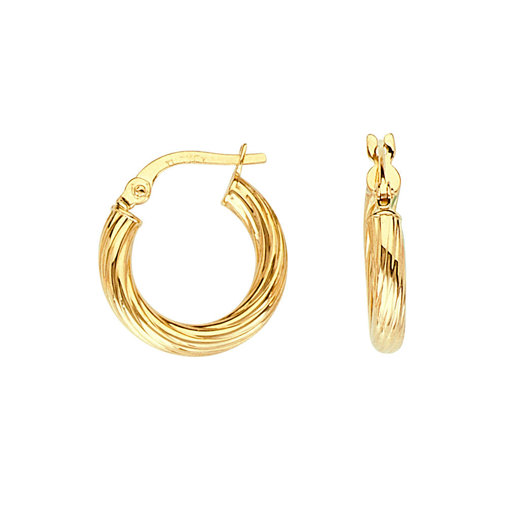 14k Yellow Gold Twist Tube Hoop Earrings with Post 15x2mm