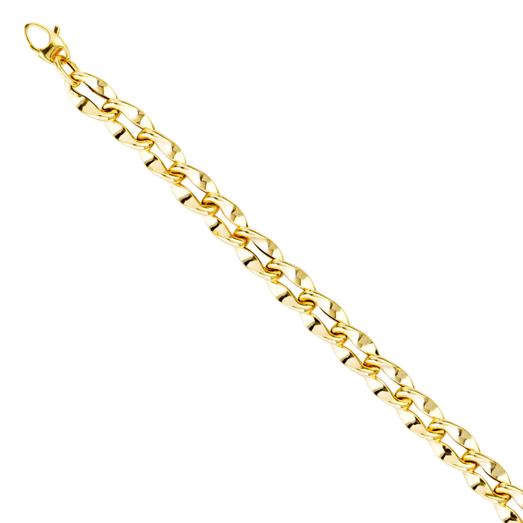 14k Two-tone Gold Bracelet with Polished White and Yellow Gold Twisted Links