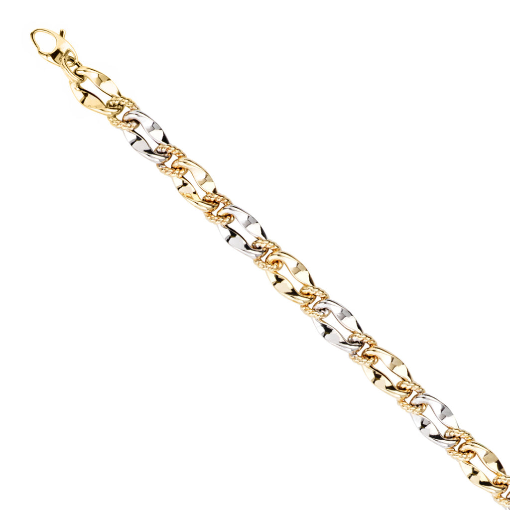 14k Two-tone Gold Bracelet with Twisted White and Yellow Gold Links