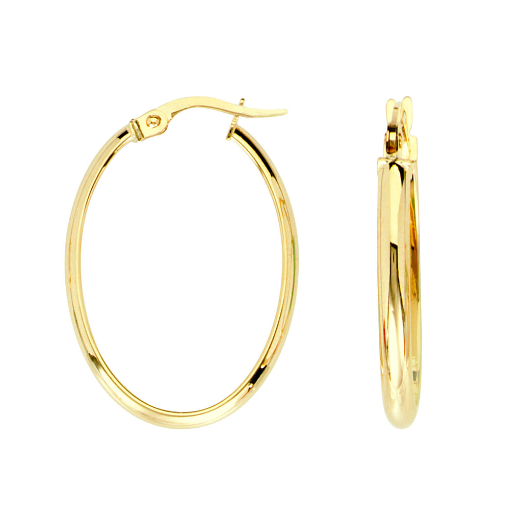 14k Yellow Gold Oval Wedding Band Tube Hoop Earrings with Click Post