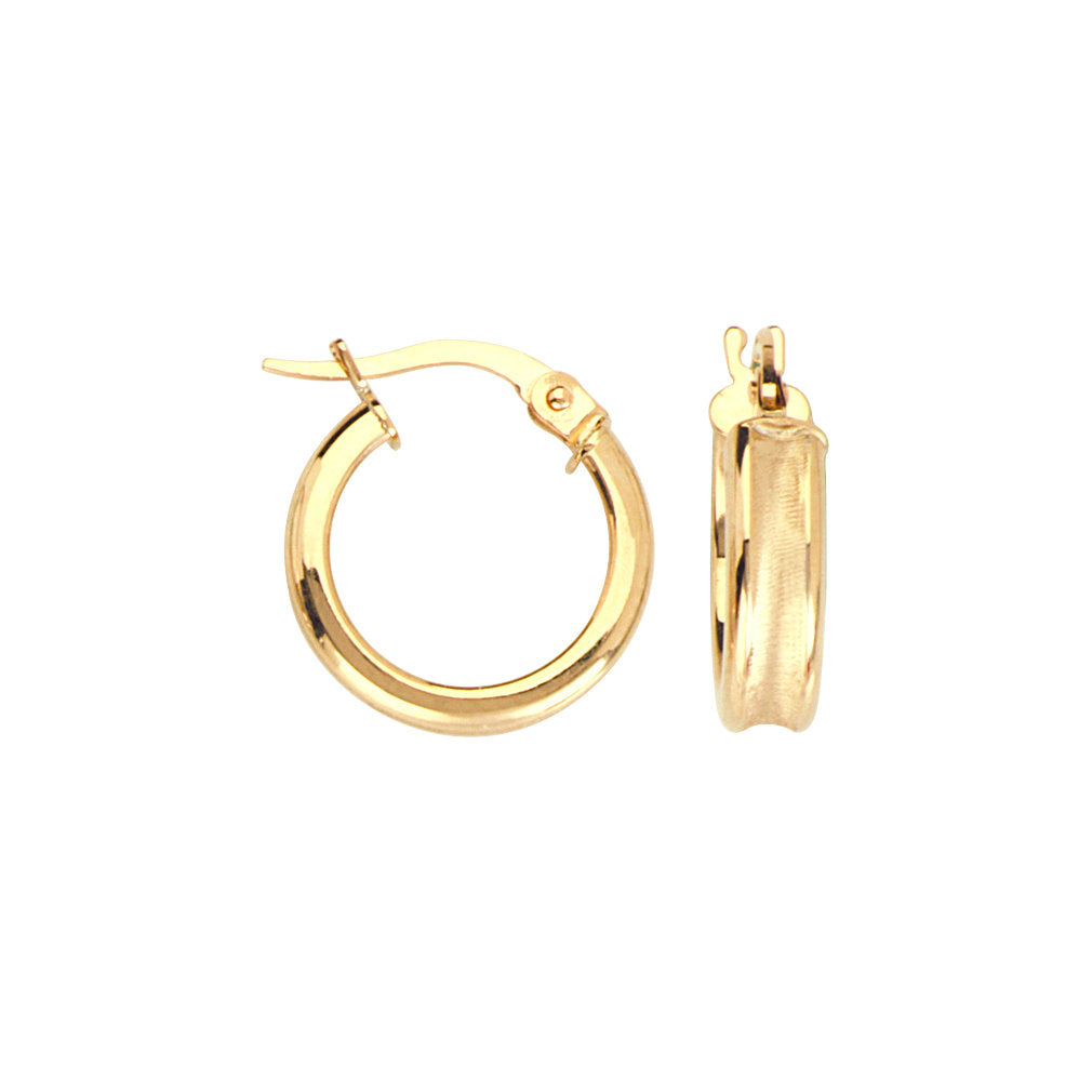 14k Yellow Gold Hoop Earrings Concave Tube Satin and Polished Finish 14mm