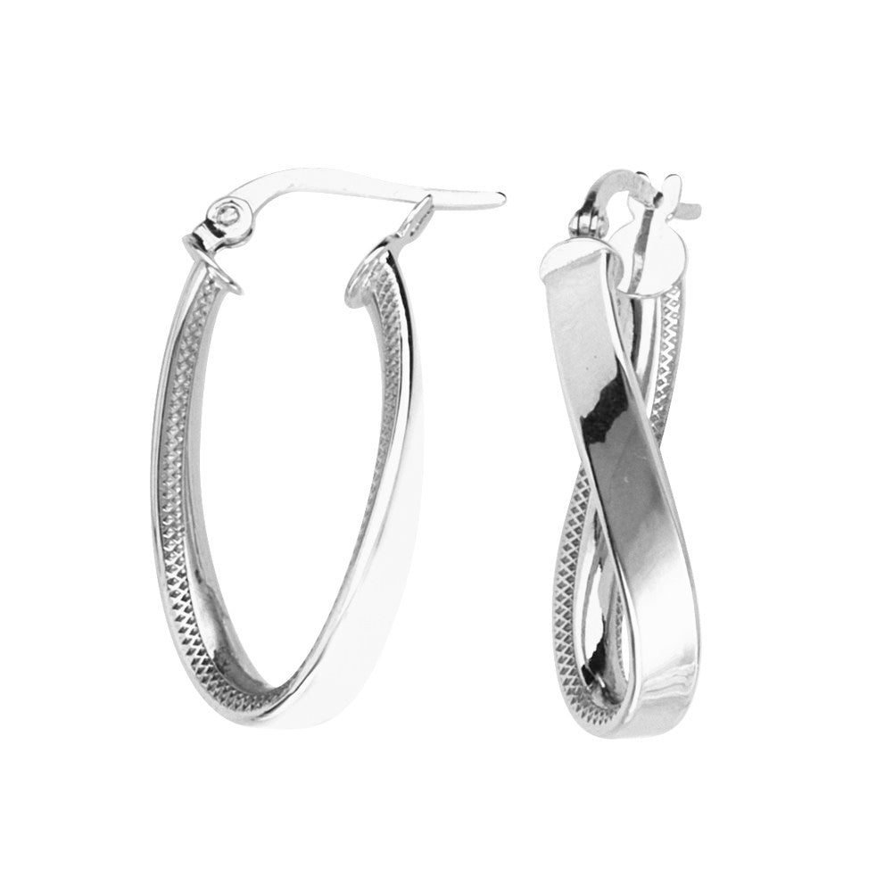 14k White Gold Figure Eight Infinity Loop Hoop Earrings