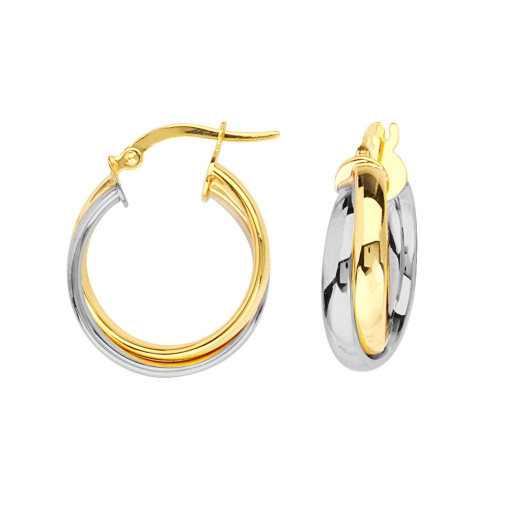 14k Two Tone Gold Interwoven Tube Hoop Earrings with Post 17x5mm
