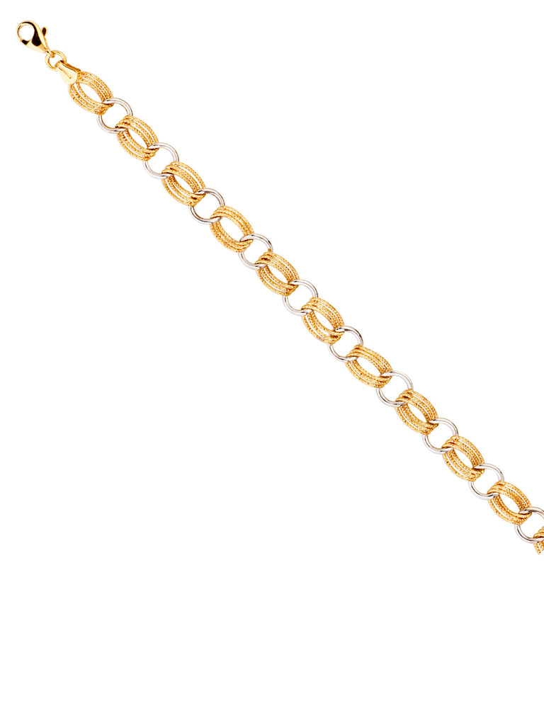 14k Yellow and White Gold Bracelet with Polished and Textured Elongated Links