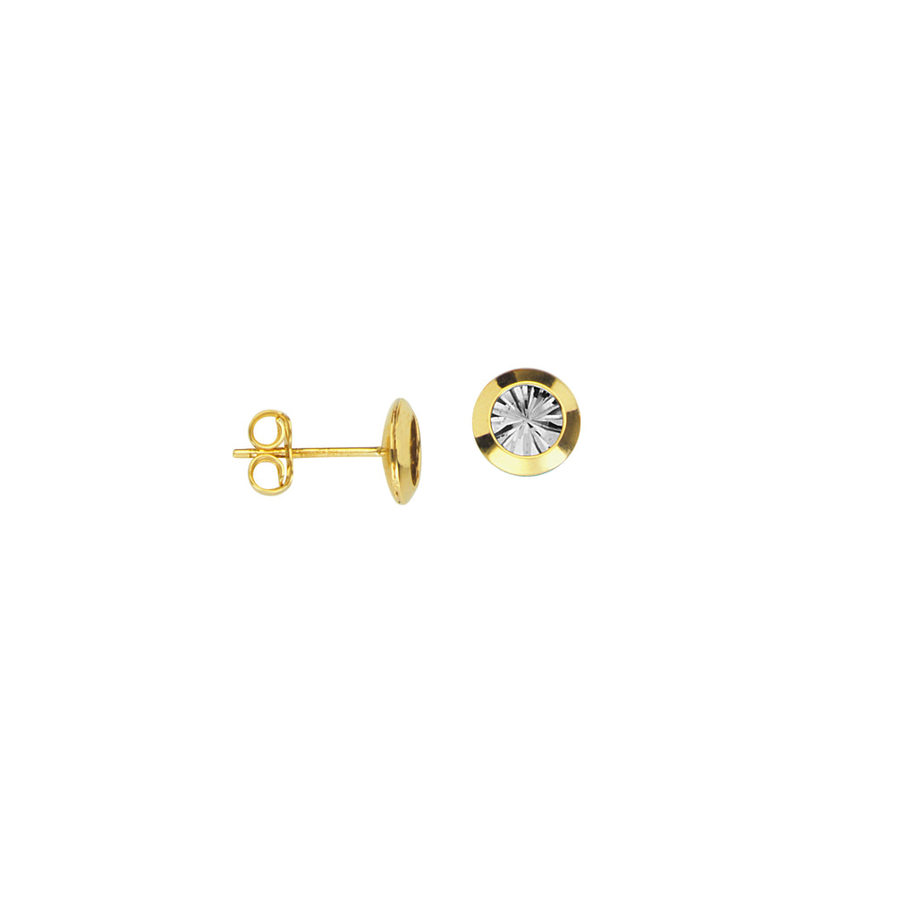 Stud Earrings with Diamond-cut Back 10k Yellow Gold 8mm