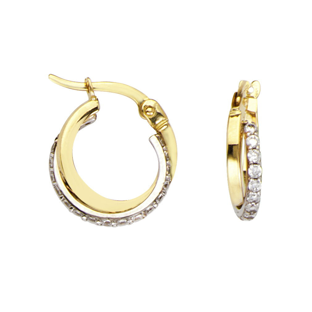 14k Two-tone White and Yellow Gold Hoop Earrings with Cubic Zirconia 14mm
