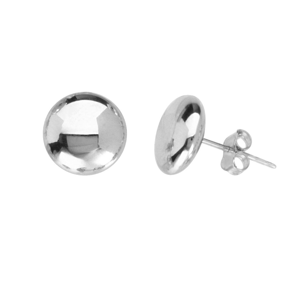 14k White Gold Flat Bead Button Stud Earrings Polished Finish