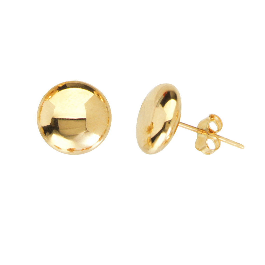 14k Yellow Gold Flat Bead Button Stud Earrings Polished Finish