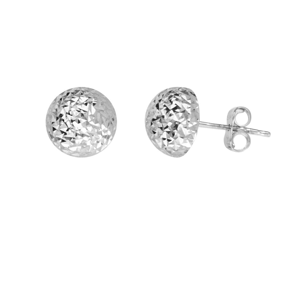 14k White Gold Half Ball Stud Earrings Diamond-cut Texture